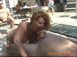 american Is Your Granny a Whoring Cum Slut Like Ours? blowjob close-up