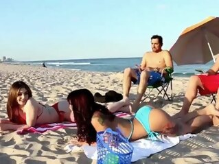 brunette Teen fuck festival Beach Bait And Switch group sex hd