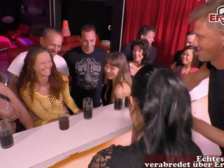amateur german normal couple at swinger club group sex party brunette gangbang