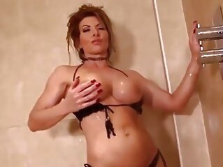 big tits Lynda Leigh milf strip naked in shower and wanks her pussy shower milf